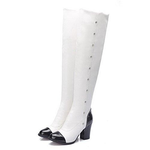 AgooLar Damen Ziehen Auf Rund Zehe Hoher Absatz Pu Leder Überknie Hohe Stiefel Stiefel Weiß
