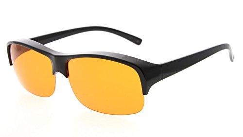 Eyekepper 100% Anti-Blaues Licht Blockierung Fitover Brille,Verschleiß über Lesen und Korrekturbrillen mit Extra Bernstein Linse,Schwarz
