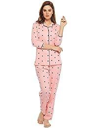 ZEYO Women's Cotton Pink Heart Print Night Suit