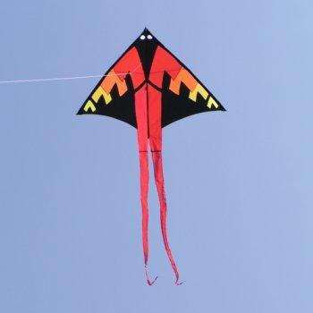 Preisvergleich Produktbild Einleiner-Drachen - Fire Man Delta - für Kinder ab 6 Jahren - Abmessung: 130x70cm, Länge inkl. Drachenschwanz: 300cm - inkl. 80m Drachenschnur