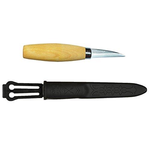 Morakniv Werkzeug Kerbschnitzmesser geölter Birkenholzgriff 3-lagig Gesamtlänge: 16.8 cm Messer, Grau, M