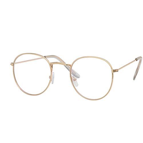 Kjwsbb Kleine runde Nerd-Brille Klare Linse Unisex Gold Runde Metallrahmen Oval Brillengestell Optisch