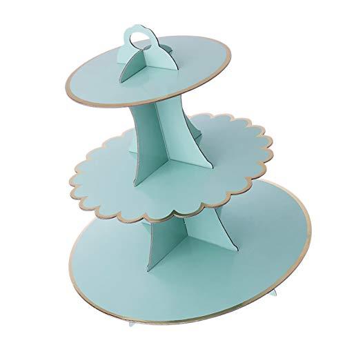 Favson 3-stöckiger Kuchenständer für Cupcakes, Pappe, Kindergeburtstag, Hochzeit, Party-Dekoration, Grün