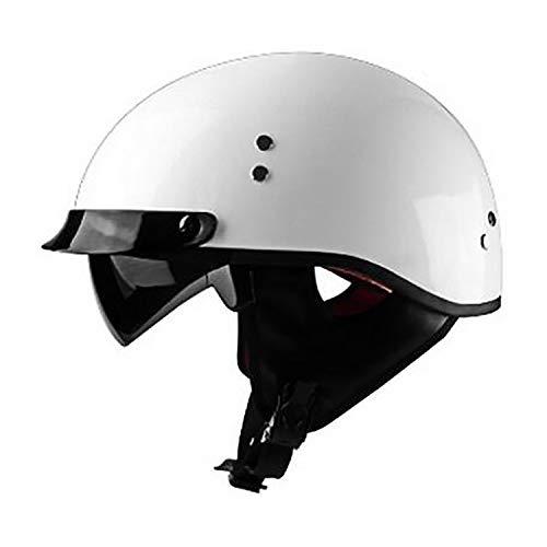 Sunzy Motorrad Harley Helm offenes Gesicht Erwachsenen Skateboard Helm/DOT-Zertifizierung/Retro Persönlichkeit halben Helm + Brille,XXL