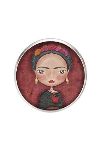 Broche de Acero, Diametro 25mm, pin 0,7mm, Hecho a Mano Ilustración Frida Ilustrador
