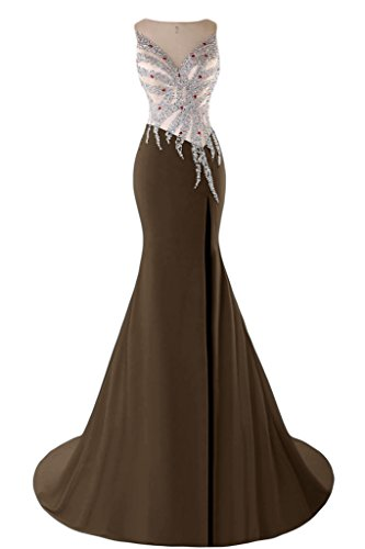 Sunvary Mermaid Sweetheart Chiffon con perline e cristalli, con scritta: Evening Dresses Homecoming Gowns Brown