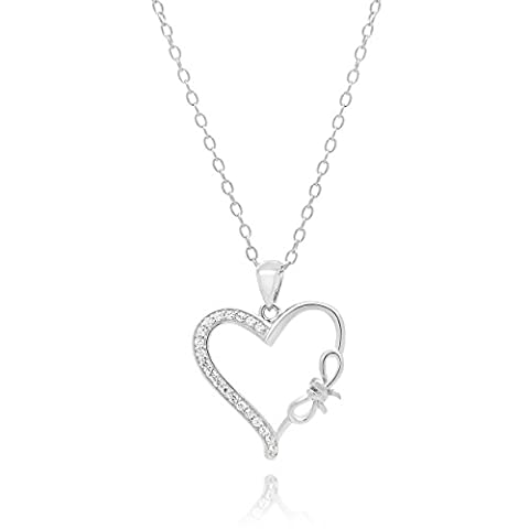 Sterling Silver Rhodium Plated Cubic Zirconia Heart, Bow Tie Pendant Necklace, 44 cm