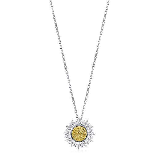Ketten Damen Sterling Silber 925 Chrysantheme Gelber Edelstein Geburtsstein Sonnenblume Halskette für Frauen Schmuck Geschenk zum Valentinstag