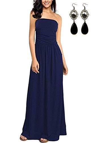 carinacoco Damen Bandeau Bustier Kleider mit Blüte Drucken Lange Sommerkleid Strandkleider Maxikleider Cocktailkleid (S-EU36-38, Geblümt15) -