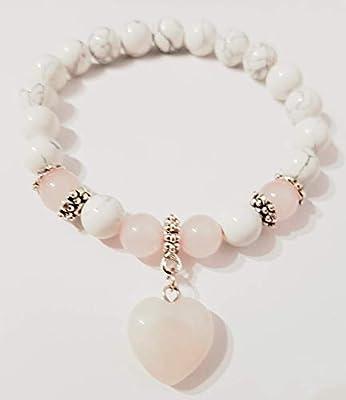 Bracelet Howlite,coeur de quartz rose, ancrage d'amour