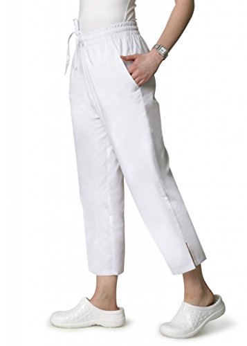 Adar Universal natural-rise Capri Hose drawstring Pants–weiß - Gr. XXXXX-Large, weiß (Kordelzug Taille Elastische Uniform)