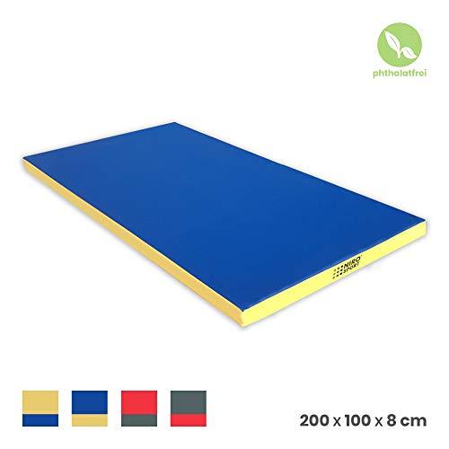 NiroSport Weichbodenmatte 200 x 100 x 8 cm Turnmatte Fitnessmatte Gymnastikmatte Sportmatte Trainingsmatte Bodenmatte Schutzmatte Yogamatte (Blau/Gelb)