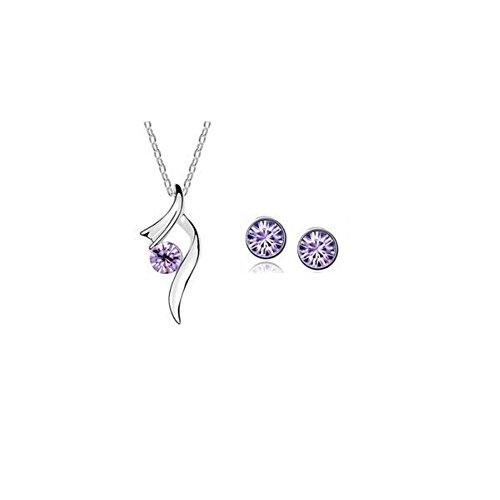 Parure cristal swarovski elements plaqué or blanc Violet