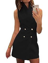 Vestido de Mujer - Doble Botonadura Blazer Vestido Cuello Alto Color Sólido Oficina Negocios Parte OL