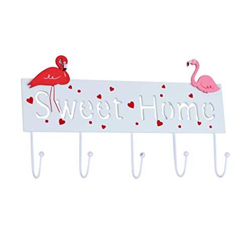 (Kindergarderobe mit 5 Haken Garderobe Kinderzimmer Babyzimmer Wandgarderobe Kleiderhaken Wandhaken Kindermöbel Garderobenhaken Aufhänger - Maße 33,5 x 16 x 4 cm - Sweet Home Flamingo)