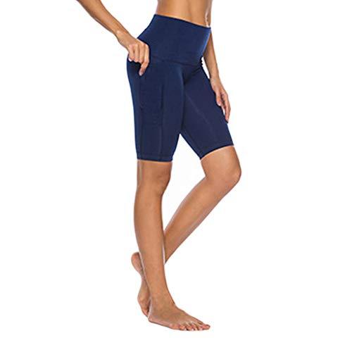 TEELONG Shorts Damen Damen, die Seitentaschen Hip Stretch Running Fitness Yoga Pants nähenBadeshorts Chinoshorts Cargoshorts Jeansshorts Sweatshorts Hosen(M, Marine) -