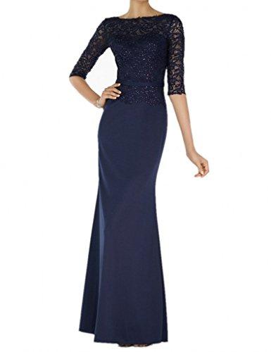 Milano Bride Glamour Spitze langarm Abendkleider Brautmutterkleider Promkleider Schmaler Schnitt Chiffon Rock Navy Blau