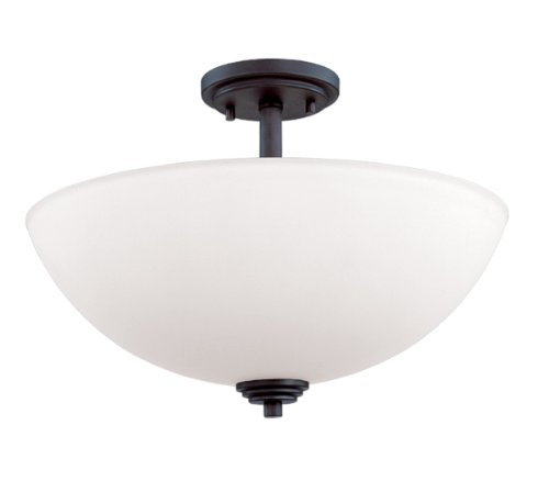 Dark-metal-finish (Z-Lite 314SF-BRZ Chelsey Three Light Semi Flush Mount, Metal Frame, Dark Bronze Finish and Matte Opal Shade of Glass Material by Z-Lite)