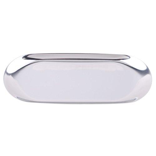 Tablett Schmuck-teller (CanVivi Oval Tablett Serviertablett aus Edelstahl Ablageschale Teller Ovalplatte ,Silber,S)