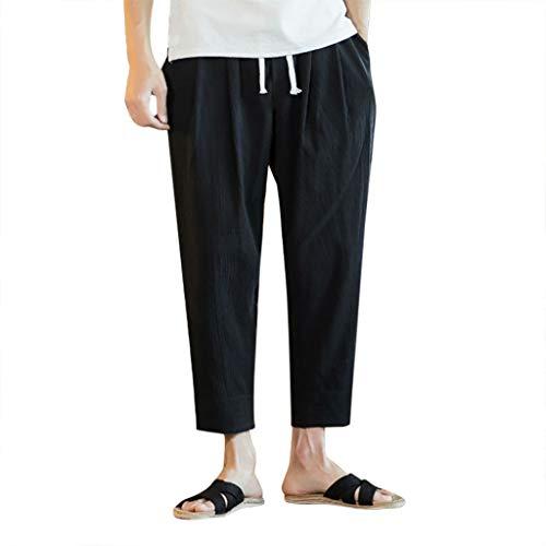 GreatestPAK Pants Herren Neu Flachs Retro Hosen Druck Cropped Pants,Schwarz,4XL Plaid Cropped Pants