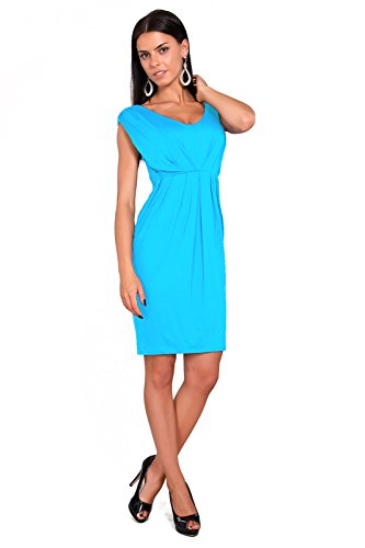 Futuro Fashion Femmes Robe Tulipe Sans manche avec Col V Style Décontracté Taille 8-18 UK 8437 Turquoise