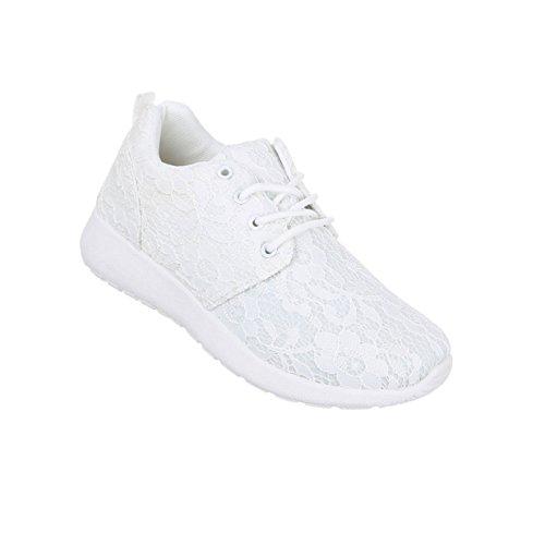 Damen Sneakers Turnschuhe Schuhe Weiß Freizeitschuhe PqBq6ga