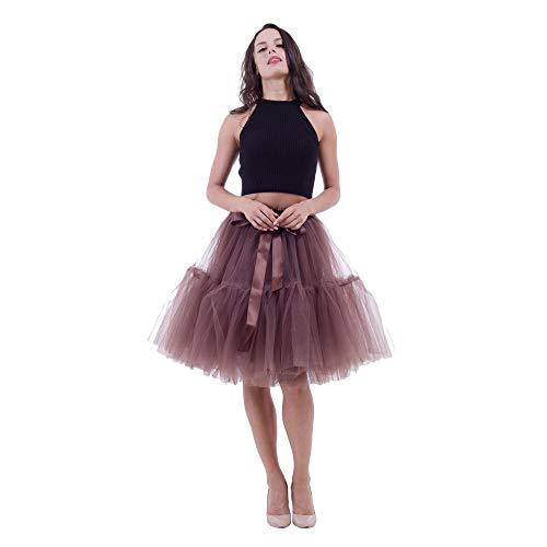 Andouy Damen Tutu Rock Midi Tüll Organza Petticoat Balletttanz Größe 34-50 Layred Kostüm Dress-up Lace-up Taille(34-42,Braun)
