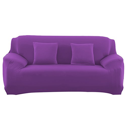 Slipcover Stretchable Pure Color Sofa Cushion Covers (Loveseat Purple) (Slipcover Loveseat Sofa)