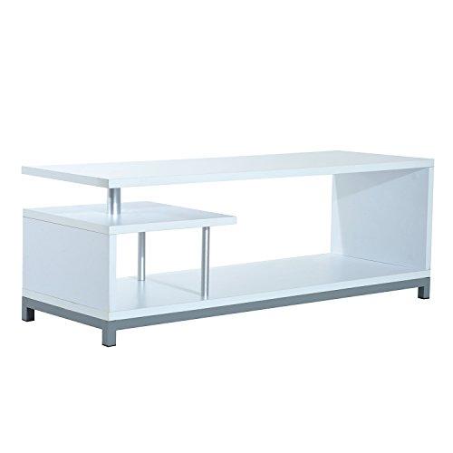 Mueble para Televisor con Soporte Moderno de TV 114x40x40,5cm Mesa TV Forma G 2 Color (Blanco)