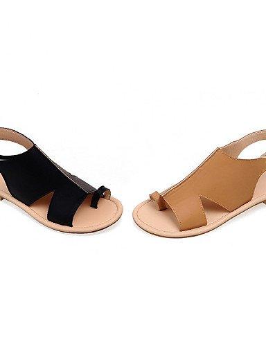 ShangYi Sandaletten für Damen Damenschuhe - Sandalen - Kleid - Kunstleder - Flacher Absatz - Zehenring - Schwarz / Rot / Weiß , red-us6 / eu36 / uk4 / cn36 , red-us6 / eu36 / uk4 / cn36