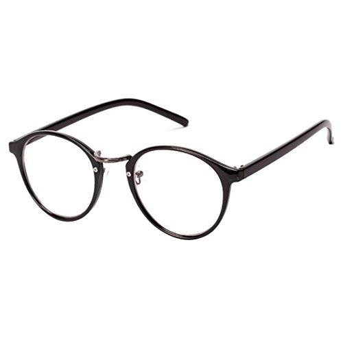 NoyoKere Mens Womens Vintage Nerd Brille Klare Linse Brillen Unisex Plain Klar Brillen Brille Titan Brille Frames Bright schwarz