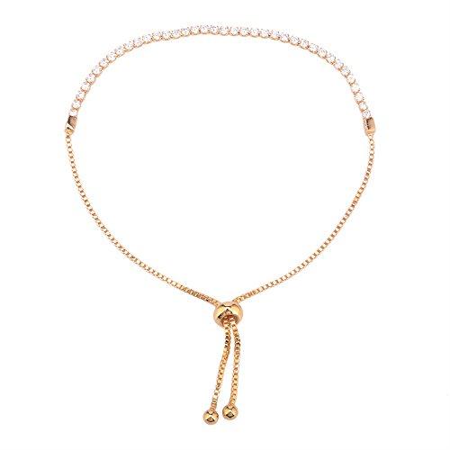 DAY.LIN Armband Damen Armbänder Damen Kristall Strass Vergoldet Armreifen Armband Schmuck einstellbar (Gold)