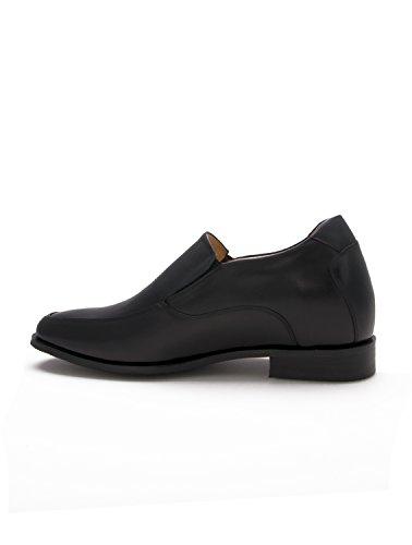 Zerimar Herrenschue Höhe Körpergrösse bis zu +6.5 cm Schuhe für Männer Erhöhen auf Unsichtbare Weise Ihre Körpergrösse, Höhe Steigerung, Versteckter anhebender Ferse, 100% Leder. Schwarz