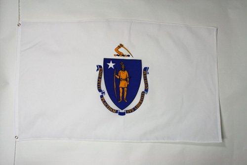 AZ FLAG Flagge Massachusetts 90x60cm - Bundesstaat Massachusetts Fahne 60 x 90 cm - flaggen Top Qualität