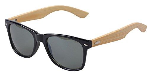 BOZEVON Mode Bambus Beine Sonnenbrille UV400 Damen Herren Eyewear Schwarz