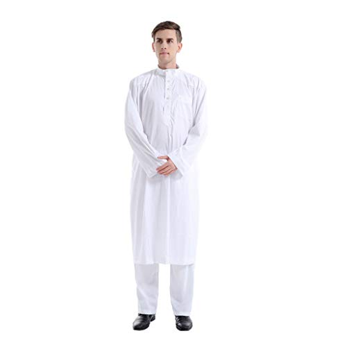 DressLksnf Langarm Dubai Kaftan Robe Partykleid Abendkleid Ramadan Männer Einfarbig Kostüm Muslimische Dubai Robe-Sätze Muslim Abaya Dubai Indien Türkisch Festlich Kaftan Robe ()