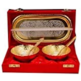 GOLD AND SILVER PLATED BOWL & SPOON SET (2+1) ROUND SHAPE