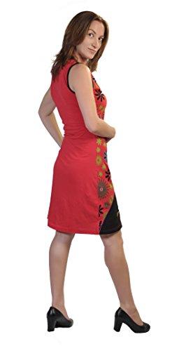 Ärmellos Bunte Kleid mit bunten Blumen - Prints und Stickereien… Rot