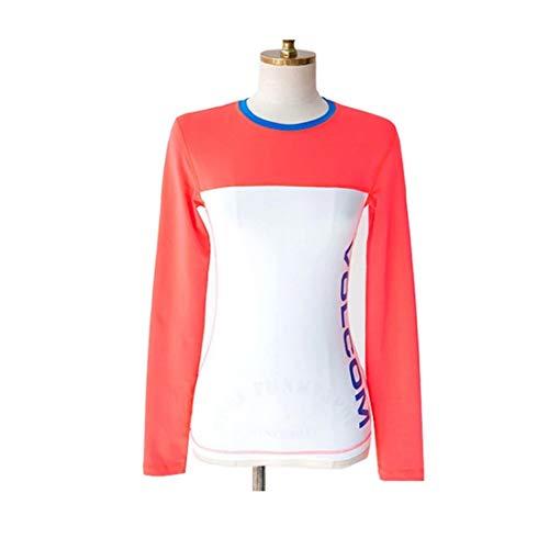HOUYAZHAN Wetsuit Suit Jacket Frauen U-Boot-Badebekleidung Damen Modische Long Sleeper Wasser Aktivierung Sonnencreme Kleidung dünn Quick Dry (Farbe : Orange, Size : S) Kleidung Sleeper