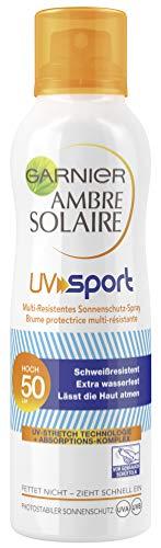 Garnier Ambre Solaire UV Sport Multi-Resistentes Sonnenschutz-Spray, mit LSF 50, ideal für Sportler, schweißresistent, extra wasserfest, 200 ml