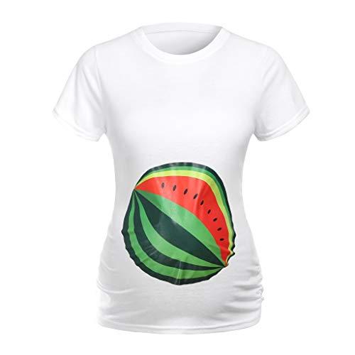 Amphia - Frauen Mutterschaft Kurzarm Brief drucken Tops T-Shirt Schwangerschaft Kleidung - Kurzarm-T-Shirt mit Rundhalsausschnitt für Schwangere -