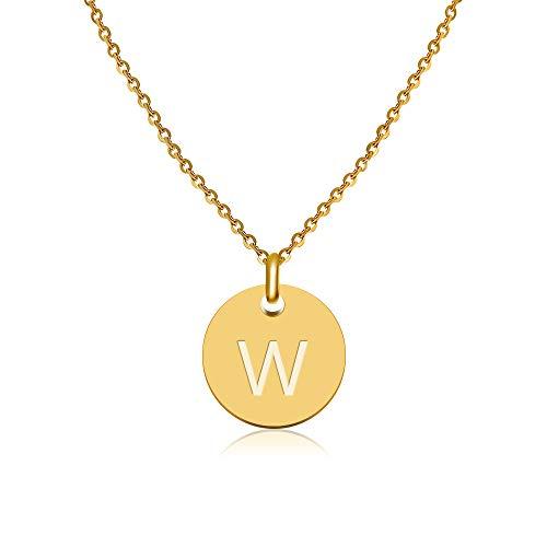Good.Designs  Initialen Halskette Frauen Mädchen mit Gravur W Wiebke Wilhelmine Wilma Wanda...