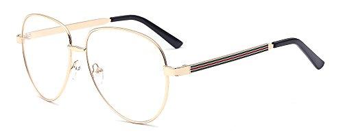 ALWAYSUV klar Linsen Brillenfassung Metal-Bügel Klassische Brille Aviator Clear Lens Glasses Retro Brillen Fashion Glasses gold Brillenfassung (Für Bügel Brillen)