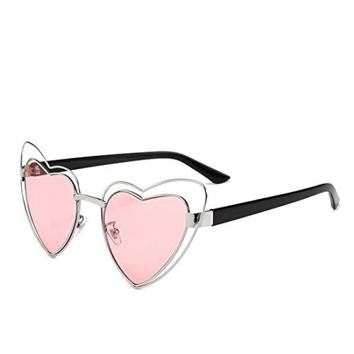Easy Go Shopping Herz-Form-Metallvollbild-Sonnenbrille für Frauen-Mann-UVschutz für das Fahren von Ferien. Sonnenbrillen und Flacher Spiegel (Farbe : Rosa)