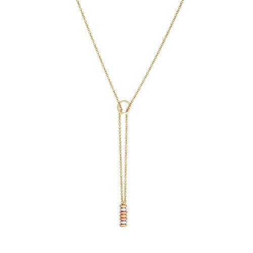 14K pink gelb WHT Gold glänzend Kette: 1.25mm Center Element: 6x 58mm RND Lariat necklc lob-clasp-46C -