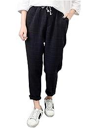 395d114d7975 SANFASHION Pantalons Pantalon Femme Casual Plaid Pants Taille Haute  éLastique Pantalon Carotte Loose Grande Taille