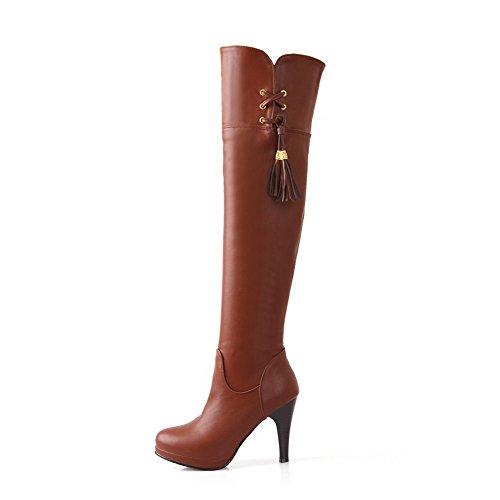 VogueZone009 Donna Cerniera Tacco Alto Puro Alta Altezza Stivali con Metallo Marrone