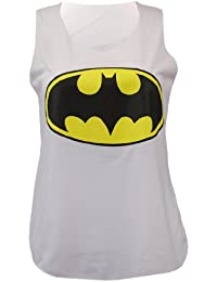 New femmes de dames de logo de Batman Comic Superhero Vest Tank Top Taille 8-14 (m/l 12-14, Batman blanc 1)