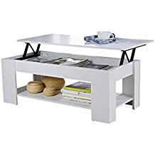 Home Source Caspian Lift Top Coffee Table with Storage and Shelf, MDF/Chipboard, White, 38 x 105 x 50 cm