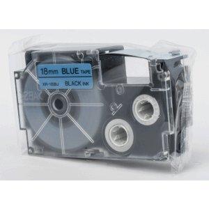 Casio Schriftbandkassette XR-18 BU 18mm schwarz auf blau